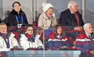 A pesar de estar a unos pasos, el vicepresidente de EE.UU. Mike Pence evitó todo contacto con delegación de Corea del Norte a las Olimpiadas de Invierno en Pyeongchang. Arriba, izq., Kim Yo Jong, hermana de dirigente norcoreano Kim Jong Un; derecha, presidente alemán Frank-Walter Steinmeier. Abajo, izq. presidente surcoreano Moon Jae-in, derecha, Pence.
