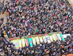 Jan. 25 protest and funeral in Afrin for civilians and combatants killed by Turkish bombardment and ground attack on the Kurdish-controlled region in northwestern Syria.