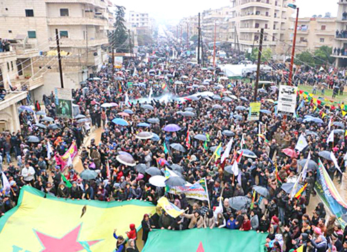Rally in the city of Afrin Jan. 18 protests against Turkish army attacks on the Kurdish region.
