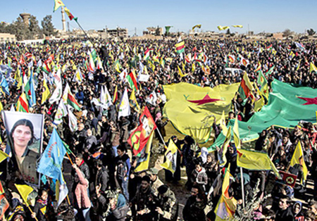 Thousands in Qamishli, Kurdish area of Syria, protest Jan. 30 against Turkish war on Afrin.