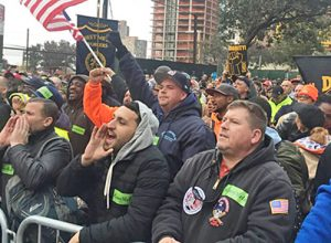 Construction workers rally to protest attacks on unions, safety in New York City Nov. 14.