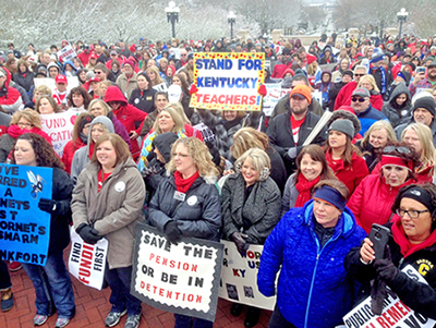 """This fight is worth fighting,"" teachers and supporters chant at March 21 protest in Kentucky capital."
