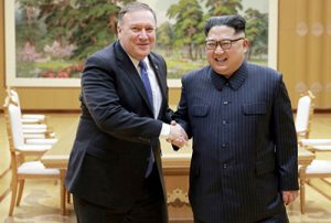 Secretary of State Mike Pompeo with North Korean leader Kim Jong Un in Pyongyang May 9. Talks were preparation for Kim meeting with President Donald Trump June 12 in Singapore.