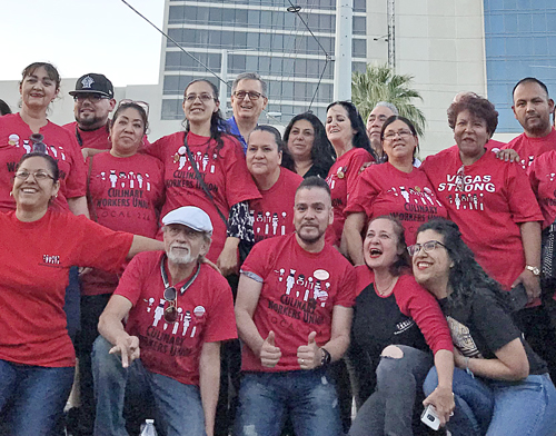 Workers at Palms Casino Resort in Las Vegas, celebrate union-organizing victory. At end of April, 84 percent of the 614 workers voted to be represented by UNITE HERE's Culinary Workers Local 226 and Bartenders Union Local 165. Contracts at 34 hotels covering 50,000 workers expire in Las Vegas June 1 and workers are preparing for possible strike action.