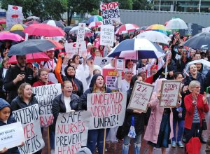 Nurses, hospital workers rally in Auckland, New Zealand, May 12, part of nationwide day of protests against low pay, understaffing, worsening conditions for both workers and patients.