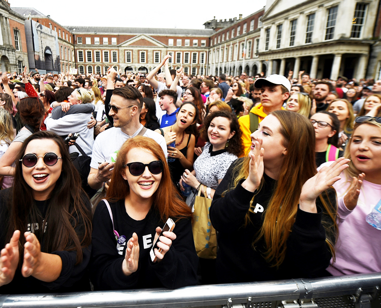 Mass celebration in Dublin May 26, day after referendum victory ending ban on abortions.
