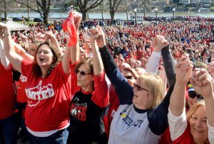 """Striking teachers at West Virginia Capitol in Charleston, Feb. 26, 2018, as one of most significant labor battles in U.S. in decades exploded. Teachers and other school workers went on strike statewide, winning support from students, parents, churches and other unions. Strikes and protests spread to Oklahoma, Kentucky, Arizona, Colorado, and North Carolina. """"What happened there is a living refutation of the portrait of working-class bigotry and 'backwardness' painted by middle class liberals and much of the radical left,"""" says Socialist Workers Party leader Mary-Alice Waters."""