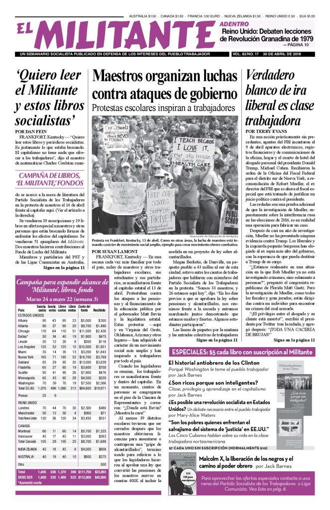 thumbnail of El Militante Vol. 82/No.17