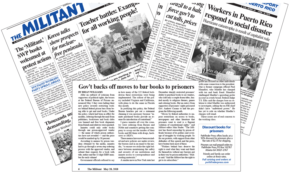 Three issues of the Militant, above, were recently impounded by Florida prison authorities. State officials reversed censorship of May 14 issue, left. Militant is appealing the others.
