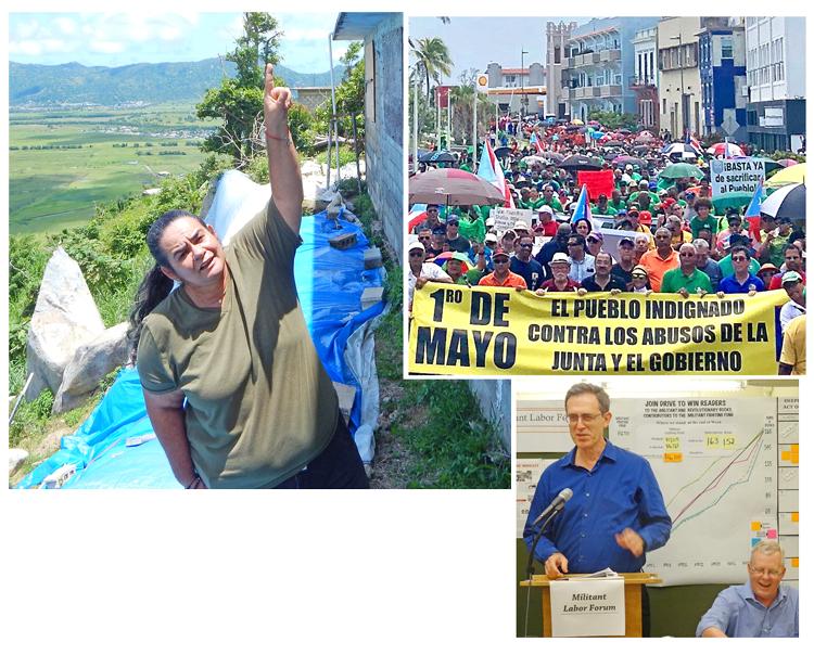 """Protesta en Humacao, Puerto Rico, el 7 de mayo contra la inacción del gobierno en la restauración de la electricidad. Las protestas por toda la isla han tenido un impacto """"pero casi todo Yabucoa aún no tiene electricidad"""", dijo Lenis Rodríguez. """"Todavía estamos luchando""""."""
