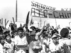 Establishment of workers and farmers government in 1979 gave impulse to struggles by the toilers. Above, 30,000 peasants and agricultural workers led by Association of Rural Workers rallied in Managua in February 1980, for radical land reform and improved conditions.