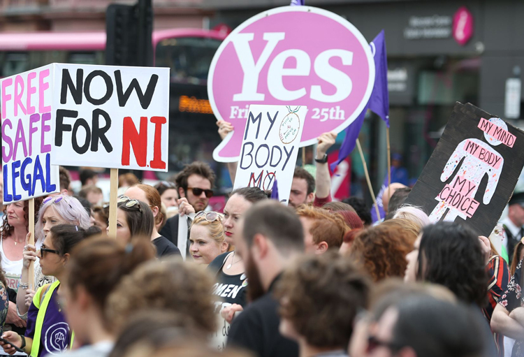 """Rally for women's right to abortion in Belfast July 7. """"No airfare, we want health care!"""" chanted protesters. Because abortions are banned in Northern Ireland, unlike in the rest of the U.K., women seeking abortions are forced to fly abroad to have the procedure."""
