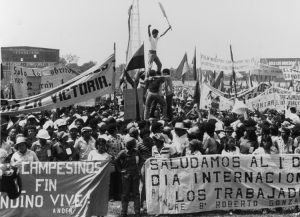 May Day rally 1984 in Chinandega, Nicaragua. Revolution in 1979 gave birth to workers and farmers government, but Sandinista National Liberation Front began to reverse course, and in 1990 formed bloc with bosses and pushed working people out of power.