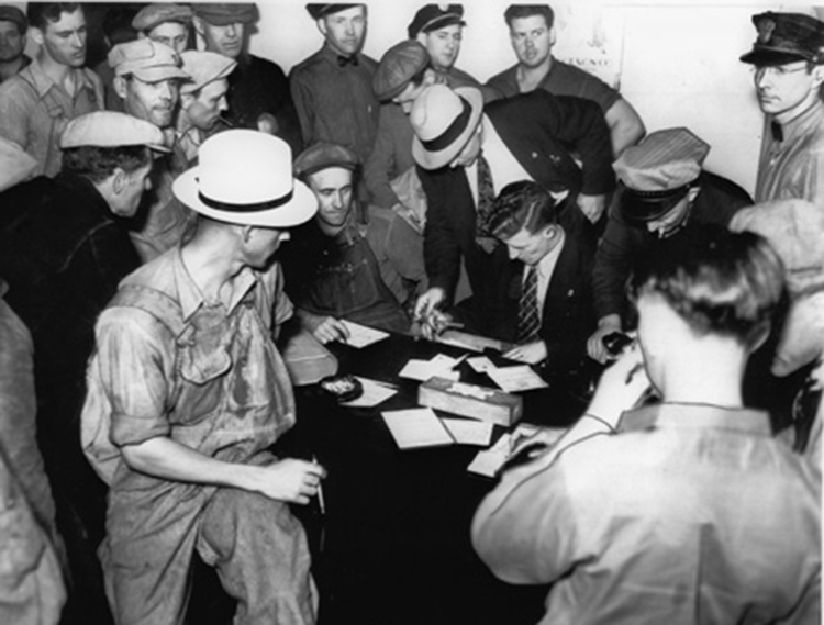 "Truckers sign up by the hundreds for Teamsters union during over-the-road organizing campaign, June 1937. ""As significant forces are set into motion,"" writes Socialist Workers Party and union leader Farrell Dobbs, ""increasingly sharp clashes with the bosses result, during which the workers begin to shed class-collaborationist illusions and acquire class-struggle concepts."""
