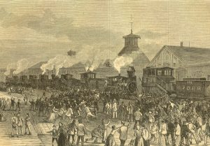 "Blockade of engines at Martinsburg, West Virginia, during 1877 rail strike. ""The first eruption against the oligarchy of capital which had developed since the Civil War,"" wrote Karl Marx, showed one key component of the class forces - the working class, oppressed toilers who are Black and exploited farmers - that would come together to lead the revolution in the U.S."