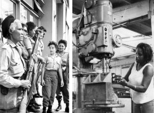Participation in Cuba's revolution transformed women. No longer restricted to the home, they became political actors and leaders. Left, militia women prepare to defend revolution against U.S. military threats during 1962 missile crisis. Right, revolution opened up traditionally male jobs for women.