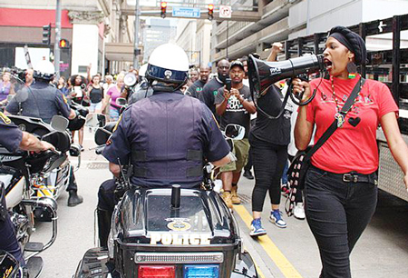 July 27 Pittsburgh march against new rules city adopted after street actions against cop killing of Antwon Rose that restrict right to protest there.