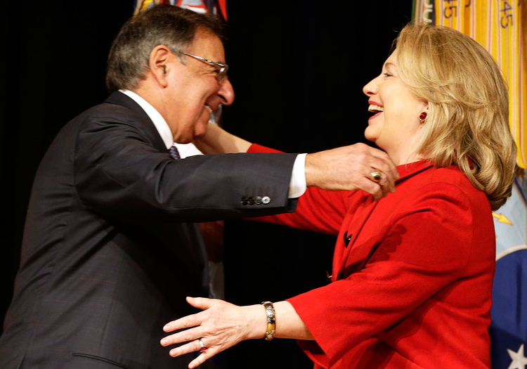 "Ex-CIA head Leon Panetta greets Hillary Clinton, 2013. Panetta and group of ex-spy chiefs defend ex-CIA head John Brennan, who lost his security clearance after calling President Donald Trump ""treasonous."" In drive to bring down Trump, liberals build up the rulers' spy agencies."