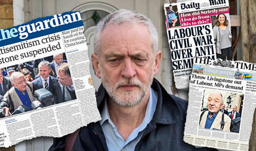 Collage above, with front pages of <i>Guardian, Daily Mail</i> and <i>Times</i>, leading bourgeois papers in the United Kingdom, illustrates growing debate over rampant anti-Semitism in Labour Party and how party leadership, including Jeremy Corbyn, in the middle, has refused to take it on.