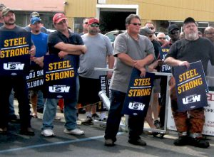 Steelworkers rally in Fairfield, Alabama, Aug. 30 against U.S. Steel demands for increase in health care costs and other concessions. Contract for over 30,000 ran out two days later.