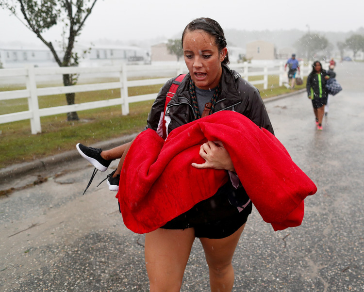 Cajun Navy volunteer helps evacuate trailer park in Lumberton, North Carolina, Sept. 15.