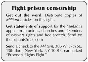 'Militant' wins a round, fight against prison censors goes on