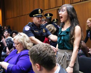 Democratic senators and allied protesters shriek and disrupt first session of confirmation hearings for President Trump's Supreme Court nominee Brett Kavanaugh, September 4.