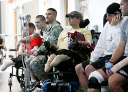 Veterans in line for physical therapy at army medical center in San Antonio, Texas, 2007.