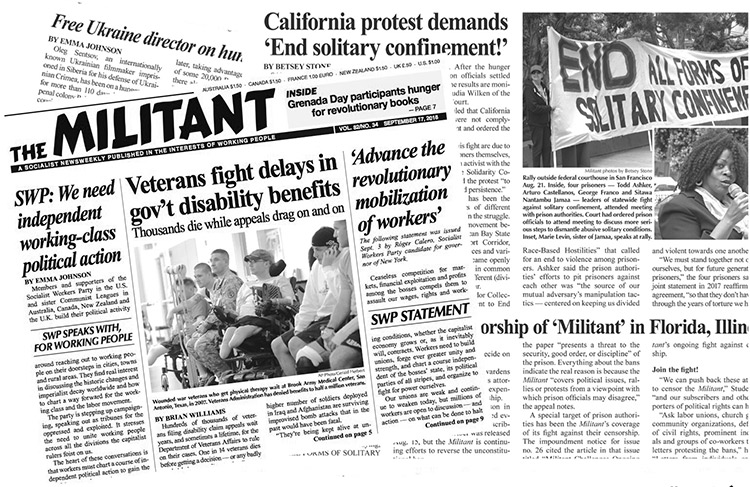 Latest issue of the Militant censored by Florida prison system. Prison officials have impounded some 18 issues over the last two years, violating constitutional rights of both the Militant and its subscribers behind bars. State authorities have rescinded all but five of the bans. Prison officials around the country are restricting access to books and periodicals.