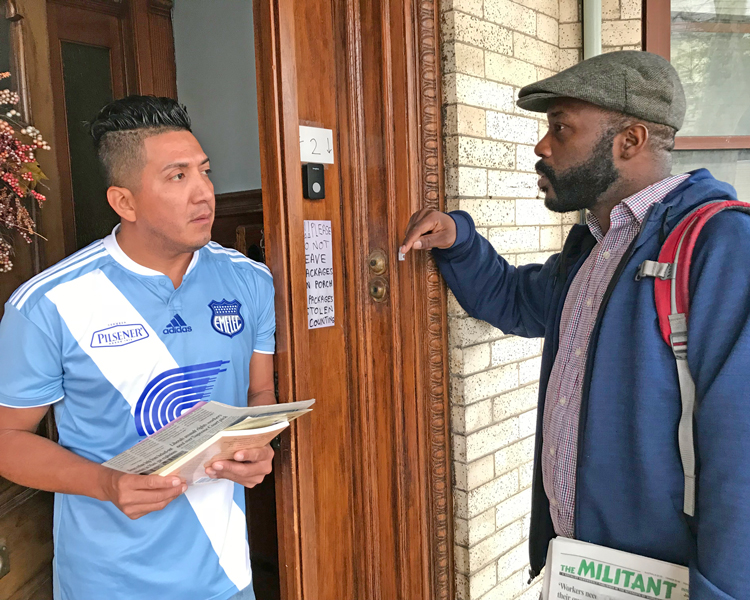Campaigning door to door in Woodhaven, Queens, in New York Oct. 14, Socialist Workers Party member Willie Cotton, right, speaks with an airport worker who had been involved in organizing a union at his workplace. He purchased The Clintons' Anti-Working-Class Record, a Militant subscription, and said he wanted to talk more about unions and the party's activities.