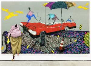 """Work by South African artist Simphiwe Ndzube at Nicodim Gallery in 2017 in Boyle Heights in Los Angeles. So-called anti-gentrifiers have race-baited and threatened gallery owners, claiming their """"white art"""" covers for big real estate interests seeking to raise rents. Some galleries have closed in face of thuggery. Nicodim has vowed to stay. """"I welcome more art to the area,"""" said Socialist Workers Party member and Boyle Heights resident Ellie Garcia."""