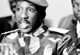 Above, Thomas Sankara at Oct. 4, 1984, press conference at U.N. in New York. Left, after revolution women prepare ground to control erosion and catch rainwater near town of Kaona, April 1, 1986.