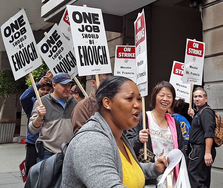Members of UNITE HERE Local 2 on strike against Marriott-operated Westin St. Francis hotel in San Francisco Oct. 4. Workers demand higher wages, health care, end to speedup.