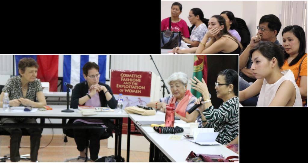 """Desde la izq., Janet Roth, Liga Comunista de Nueva Zelanda; Mary-Alice Waters; y Ana Maria Nemenzo en panel el 20 de septiembre en Universidad de las Filipinas sobre <i>Los cosméticos, las modas y la explotación de la mujer.</i> Arriba, participantes en el evento. """"Mujeres y hombres lucharon juntos para combatir la discriminación contra las mujeres"""" cuando mujeres entraron a la industria, dijo Roth. """"Y fortalecimos nuestros sindicatos en el proceso""""."""