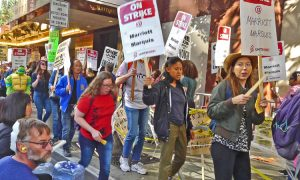 Oct. 31 Halloween day picket by striking workers at San Francisco Marriott Marquis.