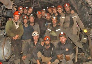 Coal miners sitting in underground at Kapustina mine since Oct. 19 in eastern Ukraine. They are demanding long-unpaid back wages, a big issue for miners across the country.