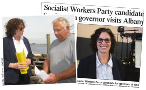 """Rachele Fruit, left, SWP candidate for Georgia governor, talks with fisherman David Gilbert about lack of government response in wake of Hurricane Michael in Apalachicola, Florida, Nov. 1. Right, Georgia's Albany Herald quotes Fruit saying, """"Only by uniting and building a working-class movement in struggle can we fight to change the conditions that we face."""""""