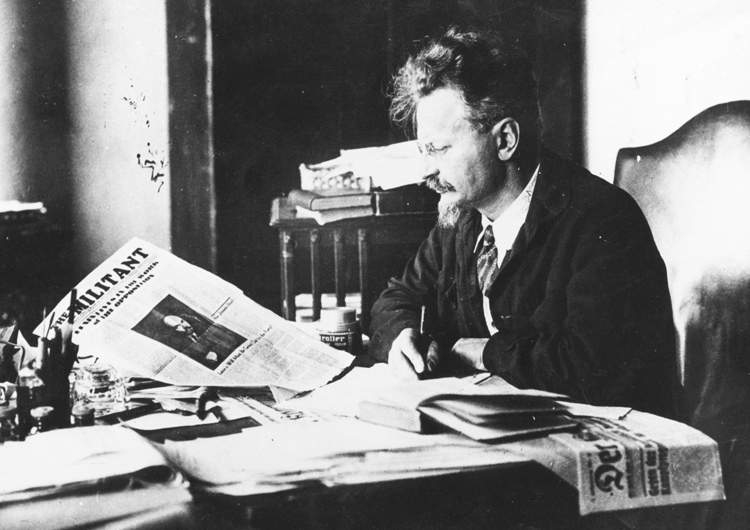 "Leon Trotsky in exile in 1931. Jack London's daughter, Joan London, sent Trotsky his book The Iron Heel. Trotsky was impressed, saying the American novelist correctly describes the ""abyss the bourgeoisie will hurl you down,"" if a proletarian revolution doesn't ""finish with them."""