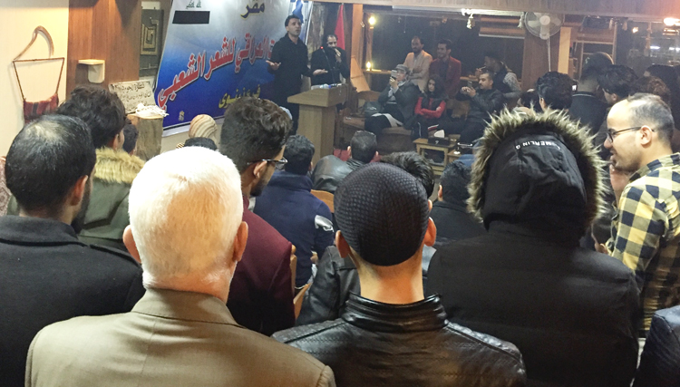 "Above, boisterous poetry reading with open mic at Qantara cultural cafe in east Mosul Nov. 30, one of many activities banned under Islamic State that are coming back to life in the city. Below right, Hussein Abbas Ahmed, a teacher, outside remains of his home in ""old city"" in west Mosul, large swaths of which were destroyed during the fight against IS, including during indiscriminate U.S.-bombing raids."
