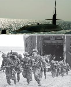 Hasta la fecha, los gobernantes de Estados Unidos se niegan a firmar un tratado de paz con Pyongyang y mantienen 28 500 tropas en el Sur. Washington impone sanciones comerciales y financieras contra la RPDC y realiza provocaciones militares. Arriba, submarino dotado de ojivas nucleares 6 mil veces más poderosas que las que Washington desató contra la población de Hiroshima en 1945. Nueve de estos submarinos rondan el Pacífico, con la mira puesta ante todo en la RPDC y China. Izq., Marines norteamericanos y surcoreanos practican desembarco, durante maniobras conjuntas Foal Eagle, abril de 2013.