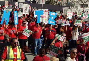 Teachers marched Dec. 15 demanding more funds for schools, smaller classes, higher pay.