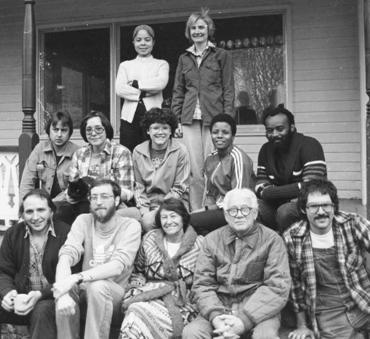 1981. Mike Tucker (left) and Sam Manuel bookend middle row; also in row (from left), Ilona Gersh, Barbara Graham, Hattie McCutcheon. Bottom row (from left), John Gaige, Andy Rose, Arminda Yañez, George Novack, Miguel Pendas.