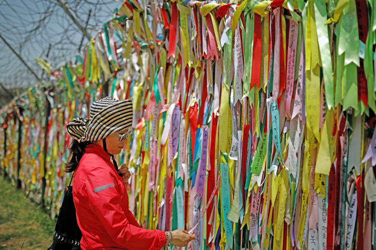 Woman reads ribbons urging peace and reunification of North and South Korea at Demilitarized Zone, May 24, 2018. President Trump and North Korean leader Kim are set to meet Feb. 27.