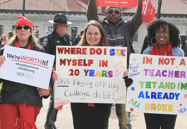 Jan. 28 protest by thousands of Virginia teachers, other school workers and their supporters. Since 2008 state has cut thousands of teaching and school positions while enrollment soared.