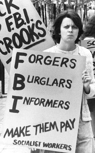 Protest in 1976 by supporters of Socialist Workers Party's legal, political challenge to FBI spying and disruption.