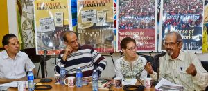 Feb. 14 panel at Havana book fair. From left, Róger Calero, chair; Yoel Cordoví, vice president of Cuban History Institute; Mary-Alice Waters, Socialist Workers Party and president of Pathfinder Press; Silvio Jova, member of editorial board of Cuban trade union magazine.