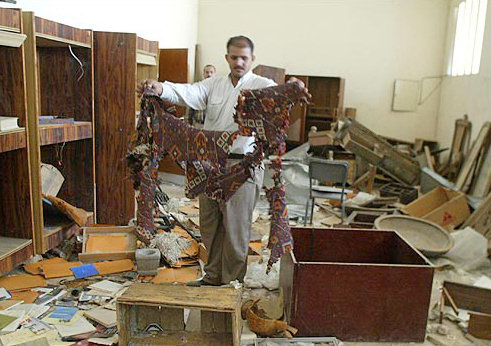 Looting damage to Iraq National Museum, a direct result of the 2003 U.S.-led invasion of Iraq.