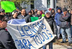 Protest in Riverhead, Long Island March 12, part of actions in New York, New Jersey and other states demanding driver's licenses for immigrants, a move that would strengthen working class.