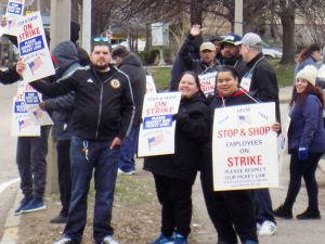 Striking Stop & Shop workers picket in Boston April 12. Widespread solidarity is needed.