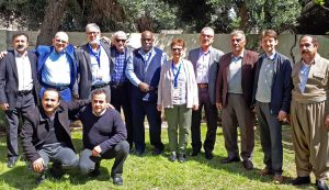 Participants in April 4 meeting in Erbil of Kurdistan United Workers' Union and leaders of Socialist Workers Party of U.S. and Communist Leagues of U.K. and Canada. Standing from left: Hangaw Abdullah Khan, KUWU president; Steve Clark, SWP; Steve Penner, CL, Canada; Maghdeed Ahmed, Erbil branch, KUWU; Osborne Hart, Alyson Kennedy, SWP 2016 candidates for vice president and president; Nazem Qoda, Iraqi Communist Party; Saber Othman, KUWU executive board; Ögmundur Jónsson, CL, U.K.; Omar Ismaail, Erbil branch, KUWU. Front row from left: Houree Toufeq and Abed Al Qader Ahmed, KUWU executive board.
